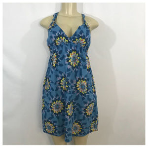 Old Navy Blue and Yellow Floral Mini Dress Medium